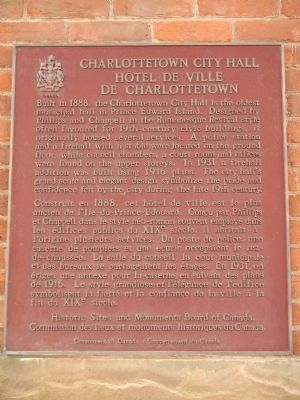 Charlottetown City Hall Marker image. Click for full size.