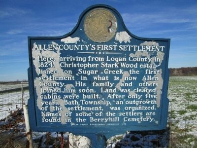 Allen County's First Settlement Marker image. Click for full size.