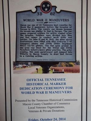 World War II Maneuvers Marker Dedication Program. image. Click for full size.