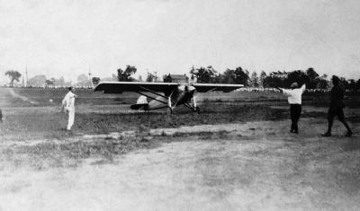 Charles Lindbergh Lands the Spirit of St. Louis at Langin Field in Moundsville image. Click for full size.