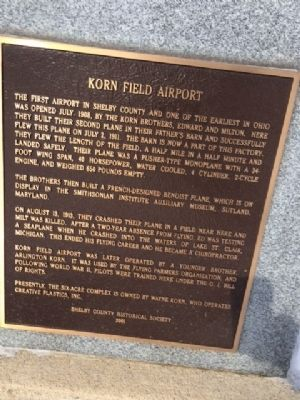 Korn Field Airport Marker image. Click for full size.