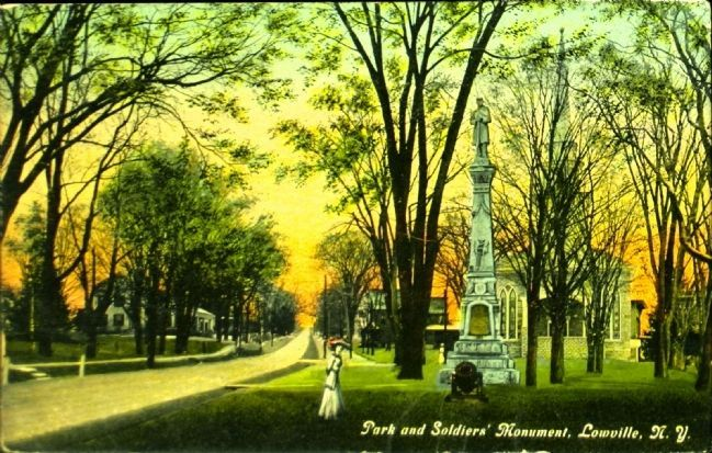 <i>Park and Soldiers&#39; Monument, Lowville, N.Y.</i> image. Click for full size.