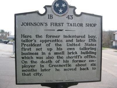 Johnson's First Tailor Shop Marker image. Click for full size.
