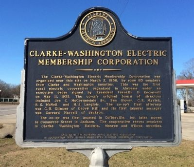 Clarke-Washington Electric Membership Corporation Marker image. Click for full size.