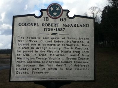 Colonel Robert McFarland Marker image. Click for full size.