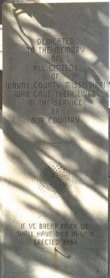 Wayne County War Memorial Marker image. Click for full size.