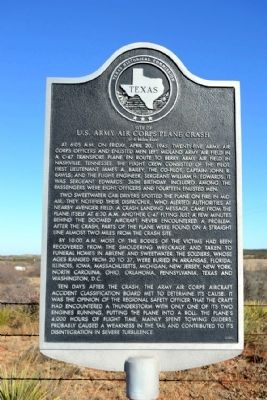 Site of U.S. Army Air Corps Plane Crash Marker image. Click for full size.