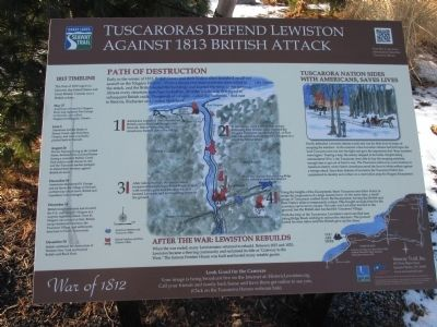 Tuscaroras Defend Lewiston Against 1813 British Attack Marker image. Click for full size.