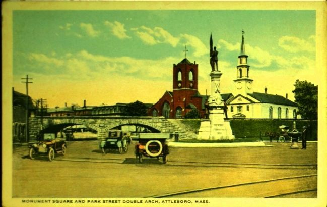 <i>Monument Square and Park Street Double Arch, Attleboro, Mass.</i> image. Click for full size.