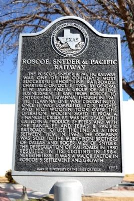 Roscoe, Snyder & Pacific Railway Marker image. Click for full size.