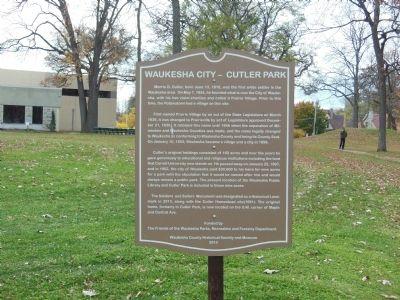 Waukesha City - Cutler Park Marker image. Click for full size.