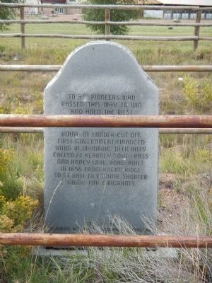 Lander Trail Marker adjacent to the Of Cattle and Men Marker image. Click for full size.