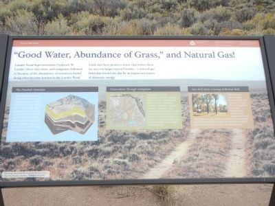 """Good Water, Abundance of Grass,"" and Natural Gas! Marker image. Click for full size."