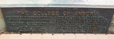 In Commemoration of the College of Emporia Marker image. Click for full size.