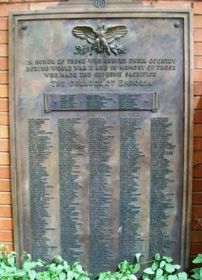 College of Emporia World War II Memorial Marker image. Click for full size.