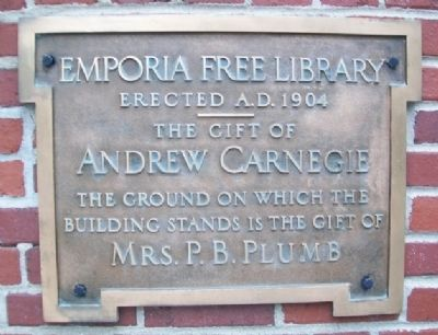 Emporia Free Library Marker image. Click for full size.