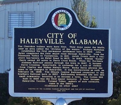 City of Haleyville, Alabama Marker, Side 1 image. Click for full size.