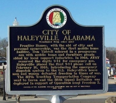 City of Haleyville, Alabama Marker, Side 2 image. Click for full size.