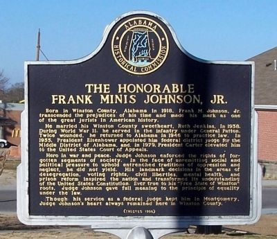 The Honorable Frank Minis Johnson, Jr. Marker image. Click for full size.