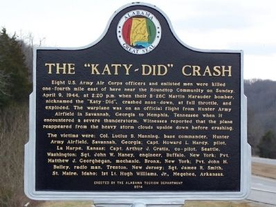 "The ""Katy-Did"" Crash Marker image. Click for full size."
