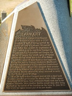 Caraquet Marker (English) image. Click for full size.