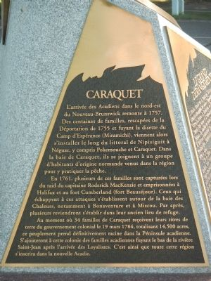 Caraquet Marker (French) image. Click for full size.