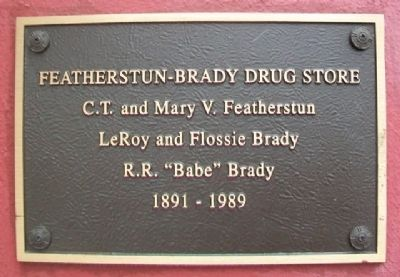 Featherstun-Brady Drug Store Marker image. Click for full size.