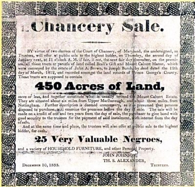 Chancery Sale<br>450 Acres of Land<br>25 Very Valuable Negroes image. Click for full size.