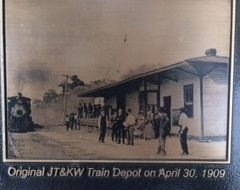 Original JT & KW Train Depot on April 30, 1909 image. Click for full size.