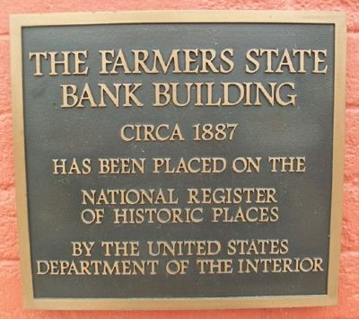 The Farmers State Bank Building NRHP Marker image. Click for full size.