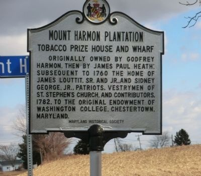 Mount Harmon Plantation-State of Maryland Historical Marker image. Click for full size.