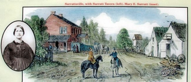 Surrattsville, with Surratt Tavern (left).<br> Mary E. Surratt (inset). image. Click for full size.