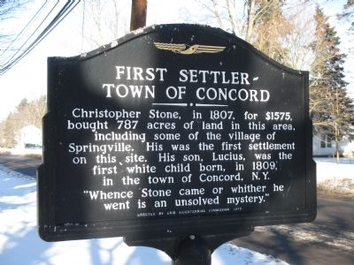 First Settler - Town of Concord Marker image. Click for full size.