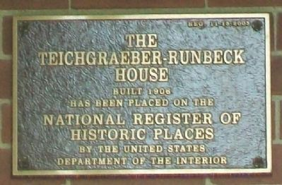 The Teichgraeber-Runbeck House NRHP Marker image. Click for full size.