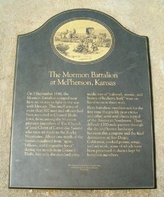 The Mormon Battalion at McPherson, Kansas Marker image. Click for full size.