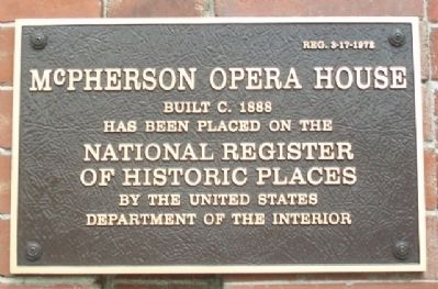 McPherson Opera House NRHP Marker image. Click for full size.