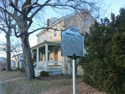 Carmichael House Marker with the House in the background image. Click for full size.