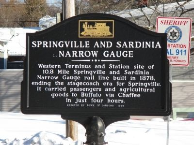 Springville and Sardinia Narrow Gauge Marker image. Click for full size.