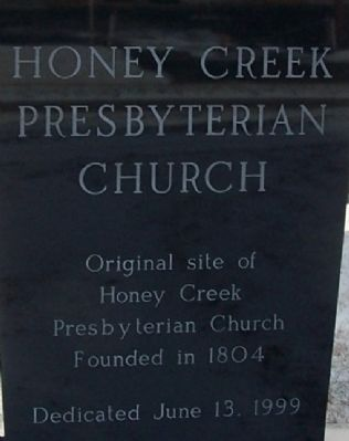 Honey Creek Presbyterian Marker image. Click for full size.