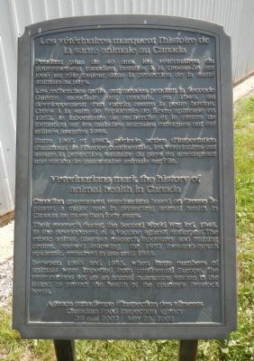 Veterinarians Mark the History of Animal Health in Canada Marker image. Click for full size.
