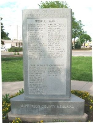 McPherson County War Memorial (Side A) image. Click for full size.
