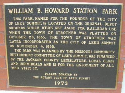 William B. Howard Station Park Marker image. Click for full size.