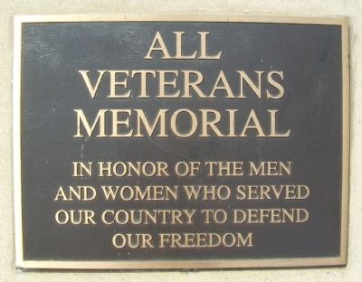 All Veterans Memorial Marker image. Click for full size.