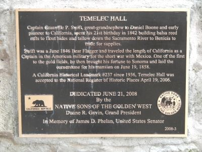 Temelec Hall Marker image. Click for full size.