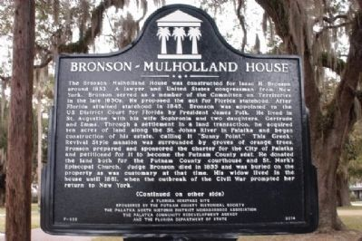 Bronson-Mulholland House Marker (side 1) image. Click for full size.