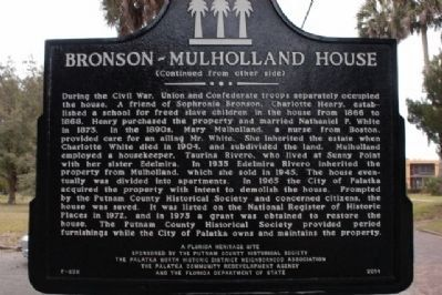 Bronson-Mulholland House Marker (side 2) image. Click for full size.