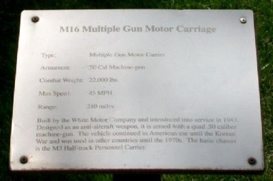 M16 Multiple Gun Motor Carriage Marker image. Click for full size.