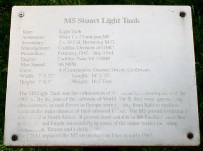 M5 Stuart Light Tank Marker image. Click for full size.