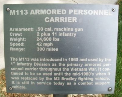M113 Armored Personnel Carrier Marker image. Click for full size.