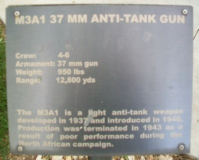 M3A1 37 mm Anti-Tank Gun Marker image. Click for full size.